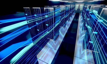 3D server room/ data center - storage, hosting, fast Internet concept Banque d'images - 131153515