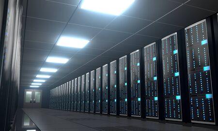 3D server room/ data center - storage, hosting concept Banque d'images - 131153516