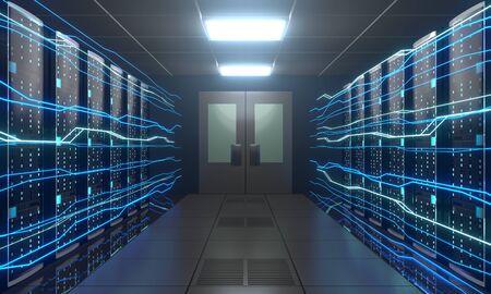 3D server room/ data center - storage, hosting, fast Internet concept Banque d'images - 131153519