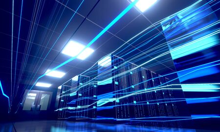 3D server room/ data center - storage, hosting, fast Internet concept Banque d'images - 131153517