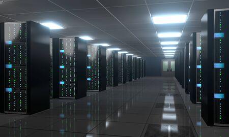 3D server room/ data center - storage, hosting concept Banque d'images - 131153518