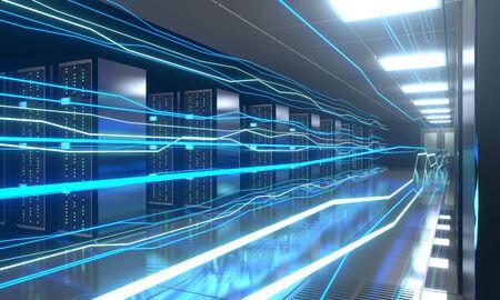 3D server room/ data center - storage, hosting, fast Internet concept Banque d'images - 131153521