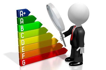 3D energy efficiency chart - power electricity saving concept - A+, A, B, C, D, E, F, G Stock Photo