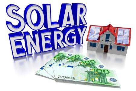 3D solar energy concept, house, Euro Stok Fotoğraf
