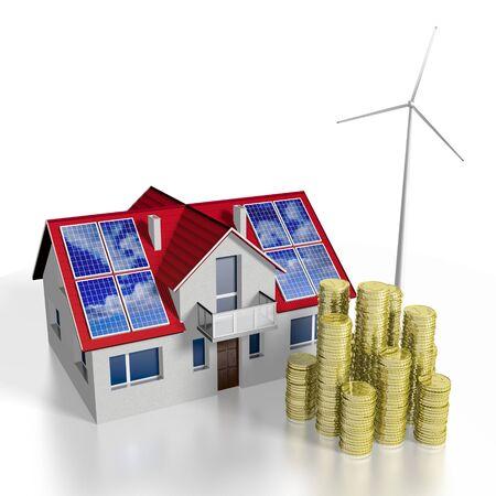 3D solar photovoltaic panels concept, house Stock Photo