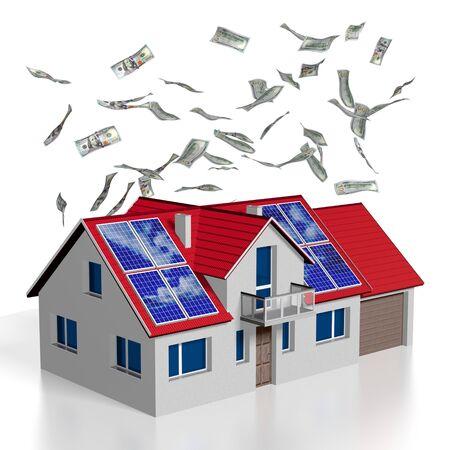 3D solar photovoltaic panels concept, house Banco de Imagens