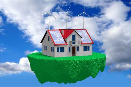 3D solar panels concept - flying house Stock Photo