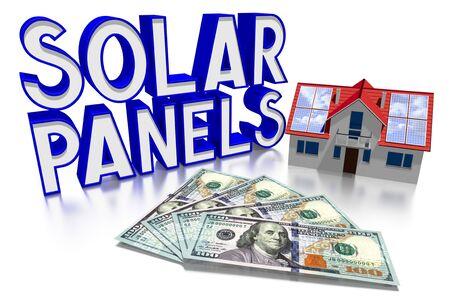 3D solar panels concept, family house