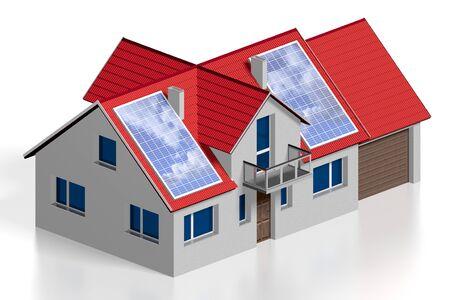 3D solar panels concept, single family house Stock Photo