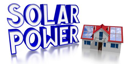 3D solar power concept - house with photovoltaic panels