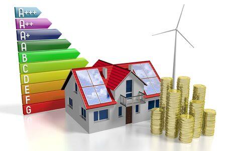 3D solar panels photovoltaic panels - saving concept Stock Photo