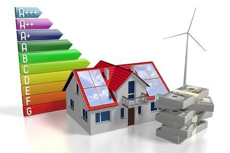 3D solar panels photovoltaic panels - saving concept Stok Fotoğraf