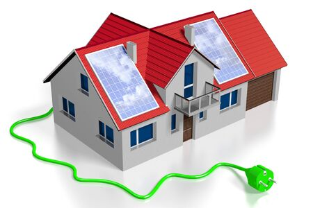 3D solar panels concept, electricity plug Stock Photo