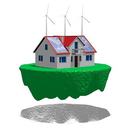 3D solar panels concept - flying house Stok Fotoğraf