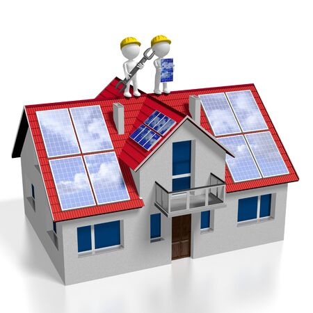 3D solar photovoltaic panels concept - installation montage company Stock Photo