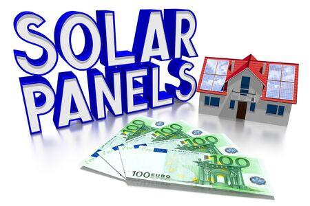 3D solar panels concept, house, Euro