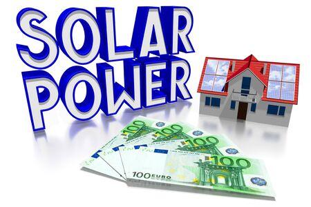 3D solar power concept, house, Euro