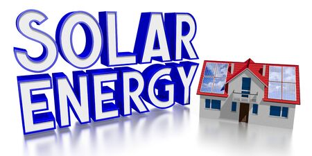 3D solar energy concept, house with photovoltaic panels