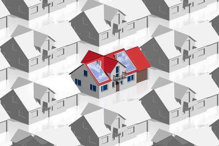 3D solar panels concept - many buildings