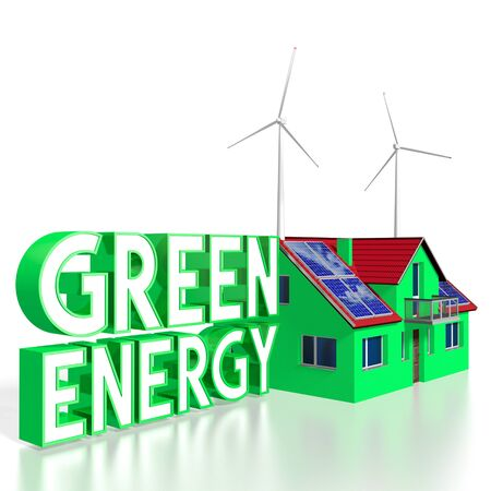 3D solar panels green energy concept Stock Photo