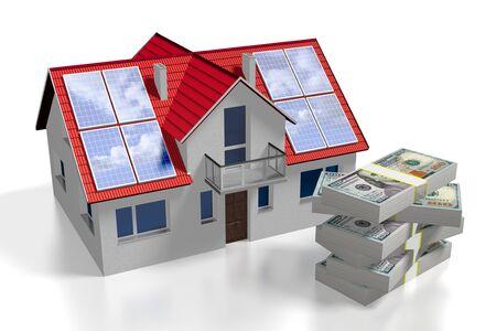 3D solar photovoltaic panels concept, house Stok Fotoğraf