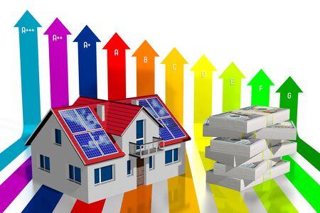 3D solar photovoltaic panels concept, efficiency power chart