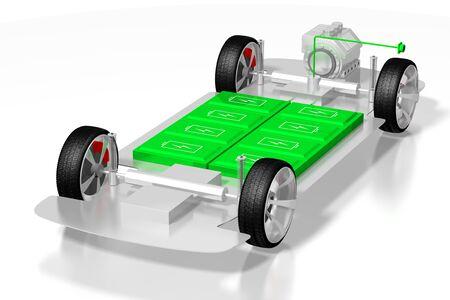 Electric car electric vehicle - e-mobility concept. 3D rendering Stok Fotoğraf