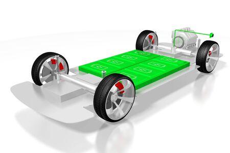 Electric car/ electric vehicle - e-mobility concept. 3D rendering Reklamní fotografie