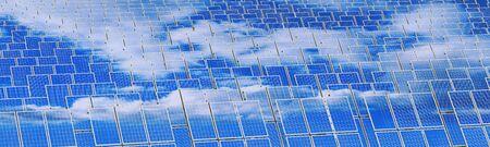 Solar panels - renewable energy concept. 3D rendering Banque d'images