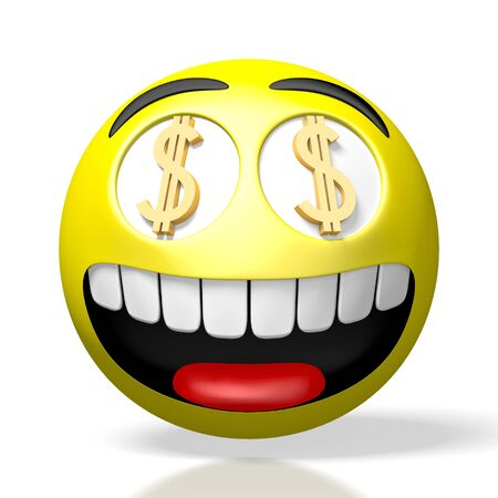 3D emoji emoticon - dollar signs
