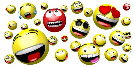 Emojis emoticons - different facial expressions - 3D rendering Banco de Imagens