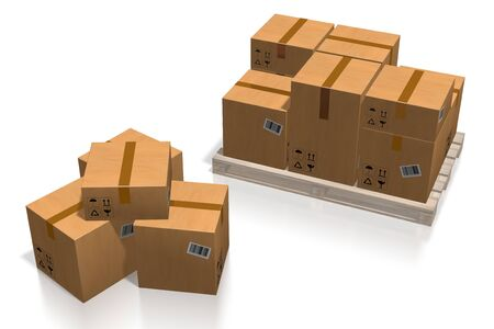 Packages on a palette - 3D rendering