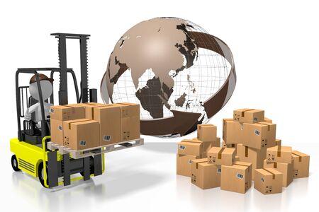 Gabelstaplermaschine, internationales Transportkonzept - 3D-Rendering