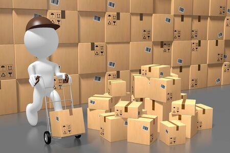 Warehouse, packages, cartoon character - 3D rendering Reklamní fotografie