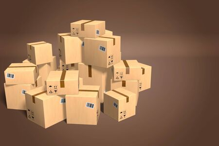 Packages on brown background - 3D rendering