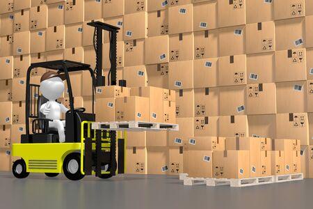Forklift machine, warehouse - 3D rendering Reklamní fotografie