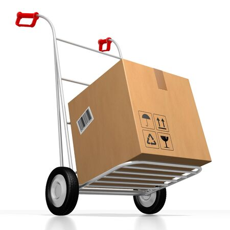 Package on hand cart - 3D rendering