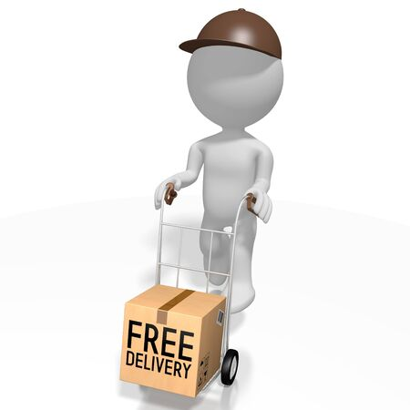 Free package delivery concept - 3D rendering 版權商用圖片