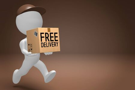 Free package delivery concept, courier - 3D rendering 版權商用圖片