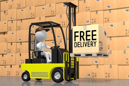 Forklift vehicle, free shippin concept - 3D rendering