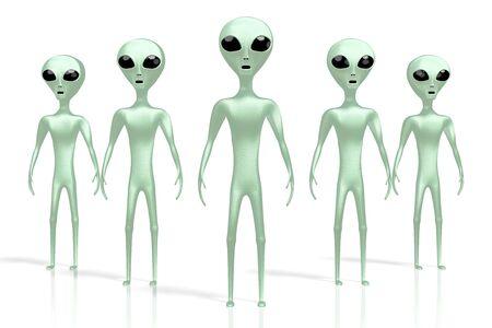 Green aliens, extraterrestrials 3D rendering 写真素材