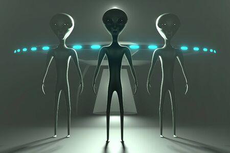 Aliens or extraterrestrials and spaceship 3D rendering 写真素材