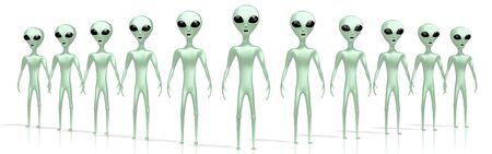 Green aliens or extraterrestrials 3D rendering