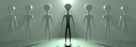 Aliens or extraterrestrials, mystic fog 3D rendering