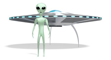 Alien, extraterrestrial and spaceship 3D rendering 写真素材 - 134132976
