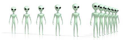 Green alien or extraterrestrial 3D rendering