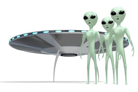 Aliens, extraterrestrials and spaceship 3D rendering 写真素材