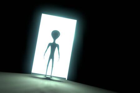 Alien extraterrestrial, door with light - 3D rendering 写真素材