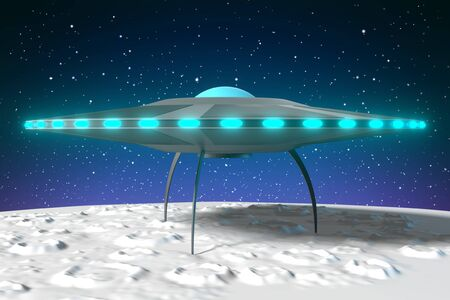Spaceship flying saucer - 3D rendering