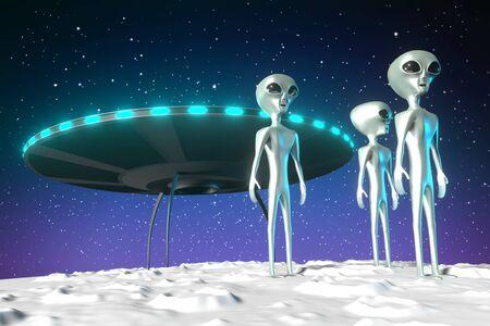 Aliens extraterrestrials, spaceship - 3D rendering